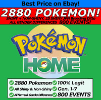 Pokemon Home 2880 Pokémon #1-#807 Living Dex, 800 EVENTS, Legendaries, ALL Forms