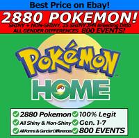 Pokemon Home 2880 Pokémon #1-#807 Living Dex, 800 EVENTS, Legendaries, ALL Forms