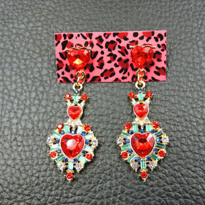 New Betsey Johnson Red Alloy Rhinestone crystal love Heart drop Earrings Jewelry