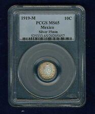 MEXICO ESTADOS UNIDOS 1919 10 CENTAVOS COIN CERTIFIED GEM UNCIRCULATED PCGS MS65