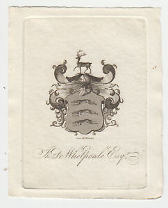Nineteenth Century English Bookplate, De Whelpdale, fine condition
