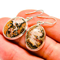 "Poppy Jasper 925 Sterling Silver Earrings 1 1/2"" Ana Co Jewelry E408802F"