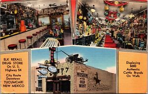 Linen Postcard Elk Recall Drug Store U.S. Highway 54 Tucumcari, New Mexico~4049