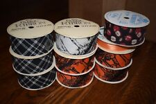 Nos Lot 9 Halloween & Other Craft Fabric Ribbon Wfr Offray Spooky Plaid +