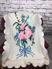 Vintage Afghan Throw Graphghan Flower Pink White Lap Baby Blanket Ribbon Detail