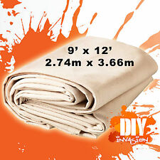 Uni-Pro Heavy Duty Canvas Drop Sheet Drop Cloth 9' x 12' Paint & Dust Protection