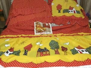 Vintage Twin Size Bed Ruffled Country  Everwear Red Mr. Sid Bedspread Curtains
