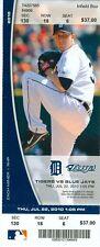 2010 Tigers vs Blue Jays Ticket: Justin Verlander win/John Buck hit HR