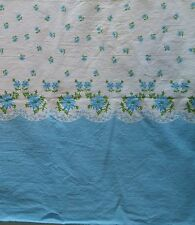 """Vintage Cotton Pillowcase Bedding Fabric BLUE & WHITE FLORAL 35""""Wide x 5 Yards"""