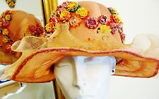 Vintage 20s/30s Peach Silk Taffeta & Netting w/Rosettes Flapper-Cloche Hat