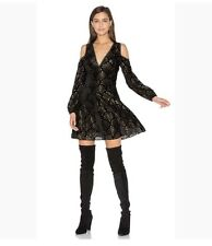 NWT alice + Olivia Aria Black/Gold Cold Shoulder Dress. Size 4