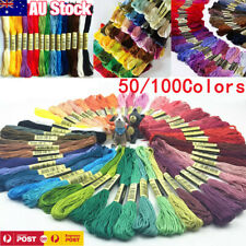 50/100 Coloured Egyptian Cotton Embroidery Cross Stitch Thread Floss Hand Skeins