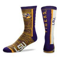 For Bare Feet Men's LSU Tigers Bar Stripe Vert Crew Socks