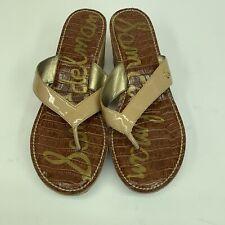 Sam Edelman TAN Patent Platform Romy Wedge Sandals Women 9.5 Summer Flip Flop