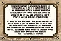 Werkstattregeln Blechschild Schild gewölbt Metal Tin Sign 20 x 30 cm
