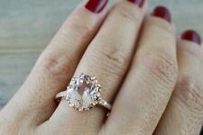 3Ct Oval Cut Morganite Diamond Halo Engagement Ring Solid 14K Rose Gold Finish