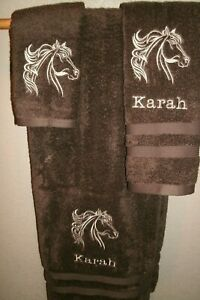 Horse Head Outline Personalized 3 Piece Bath Towel Set Any Color Choice Western