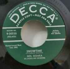Neil Sedaka Decca -30520 SNOWTIME / LAURA LEE (RARE R&R PROMO 45) PLAYS VG++