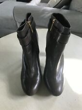 Tory Burch Brown Leather Almond Toe Heel Women's Ankle Boots SZ 10M