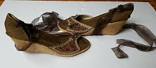 NWOT lace up wedge brown sequin espadrilles open toe sandals shows 40 US 9
