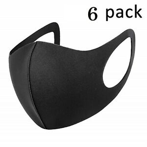 Pack 6 Face Mask Black Reusable Washable Breathable Dust Mouth Cover CHEAP UK
