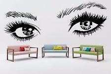 Wall Eyes Vinyl Decal Sticker Mural Beauty Salon Decor Girl Face Make Up F2336