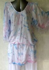 Long Tunic Top with Fringe and Drop Waist Draw String Open Shoulder Pink Size 12