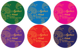 Personalised Wedding MEHNDI Stickers Labels in GLOSS, MATT, GOLD FOIL 35 & 24