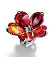 $650 BACCARAT PSYDELIC DAY 53 SIZE 6 RED FLOWER PETAL SILVER RING MIB 2609395