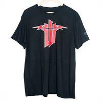 Wolfenstein II Red Logo Bethesda 2017 Mens T-Shirt Size Large Black Gaming