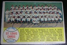 Fred Hutchinson Autographed 1958 Topps # 216 Cardinals Team Card VERY TOUGH