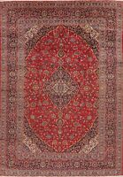 Vintage Floral Oriental Area Rug Wool Red Hand-Knotted Traditional Carpet 8x12