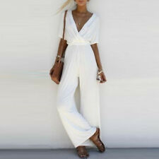 Women Sleeveless Playsuit Jumpsuit Romper V Neck Overall Long Pants Trousers