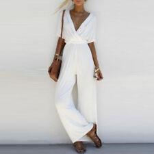 Fashion Women V Neck Loose Playsuit Party Romper Short Sleeve Long Jumpsuit hot