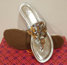New Tory Burch MILLER SANDAL Silver Mirror Metallic Leather Sandals 7 8 9.5