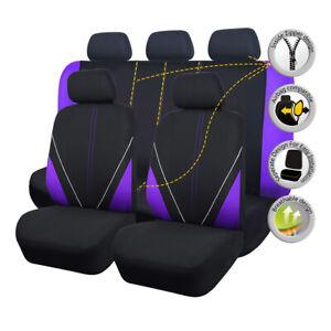 Car Seat Covers Purple Black Universal Set Split 40/60 50/50 Airbag Compatible