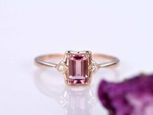 2Ct Emerald Cut Pink Tourmaline Three Stone Solitaire Ring Rose Gold Fnsh Silver