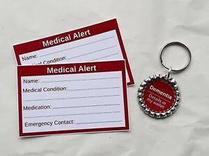 Dementia Medical Alert Keyring & Cards by Curiosity Crafts