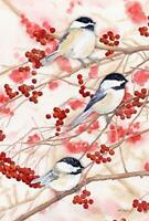 Chickadees and Berries Decorative House Flag