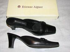 7.5 M Etienne Aigner Ladies Shoes Black Leather Orson mules slide slipon womens