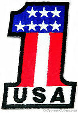 Usa 1 Embroidered Patch American Flag One Patriotic Iron-On United States Emblem