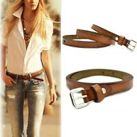 Retro Lady Casual Brown Buckle Waist Belt Thin Cow Leather Adjustable Gifts UK