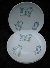 Pottery Barn Pastel Multicolor Butterfly with Polka Dots Salad Plates Set of 3