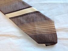 Mens Brown White Tie Necktie SEARS (8528)