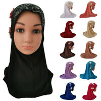 Child Kids Girl Hijab Scarf Muslim Flower Hot Drilling Headwear Amira Shawl Wrap