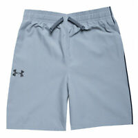 Junior Boys Under Armour Woven Graphic Shorts In Grey- Ribbed Waistband- Pockets