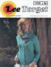 """~ Vintage 1970's Lee Target Knitting Pattern For Lady's Cable Jacket ~ 34"""" ~ 40"""""""