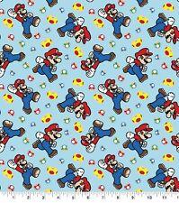 Super Mario Mushroom Tossed Flannel cotton Fabric By The Half Yard