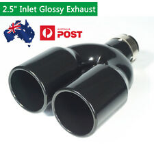 "Polished Full Black Clamp-on Exhaust Tip 2.5"" To 3.5"" Pipe Universal Car Truck"
