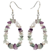 Pearl Fluorite Sterling Silver Drop Dangle Earrings Jewelry Gifts Women Mom Her